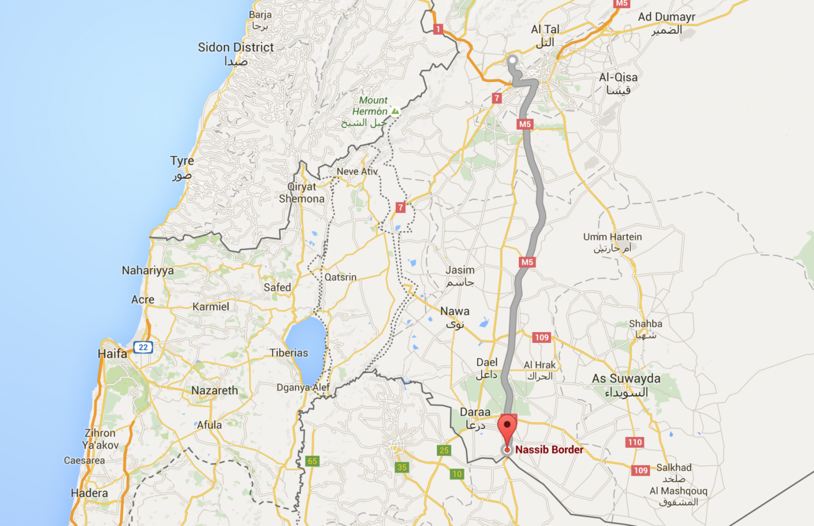Route taken by Somar Kreker from his hometown of Qudssaya, Syria, to the Jordanian Border